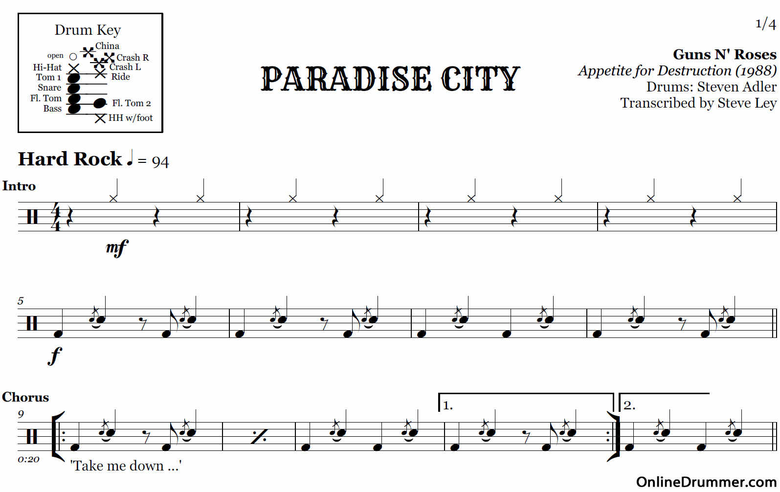 Paradise City Guitar Chords