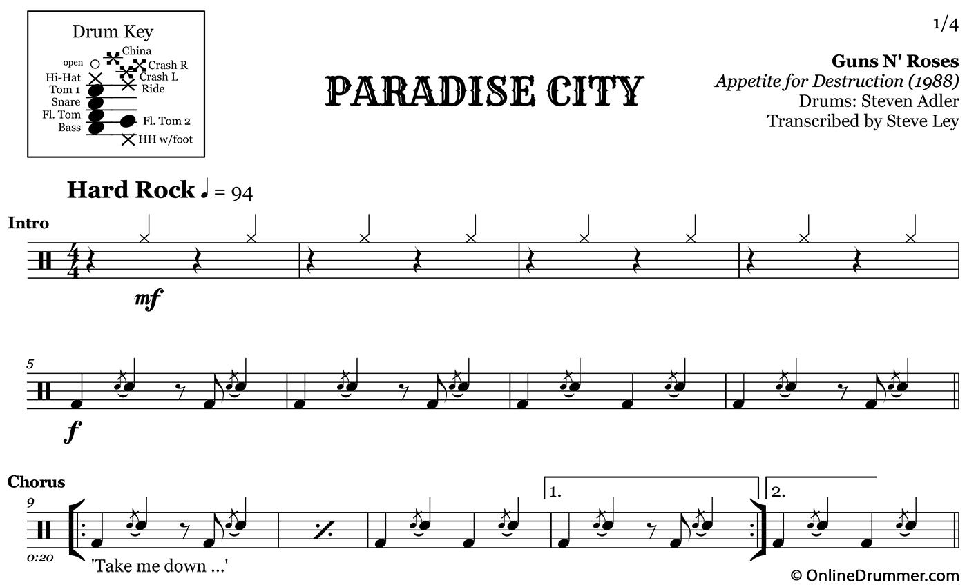 Paradise City Guns N Roses Drum Sheet Music Onlinedrummer