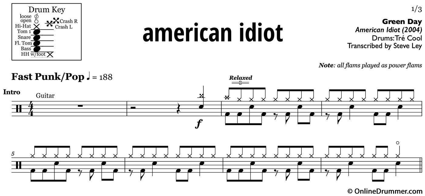 American Idiot Green Day Drum Sheet Music Onlinedrummer