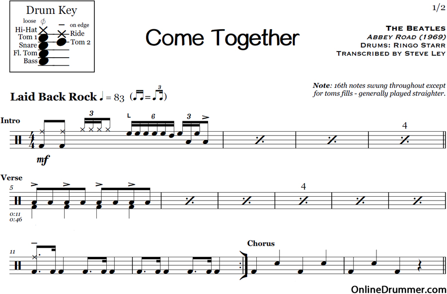All Music Chords free bass sheet music : Come Together – The Beatles – Drum Sheet Music | OnlineDrummer.com