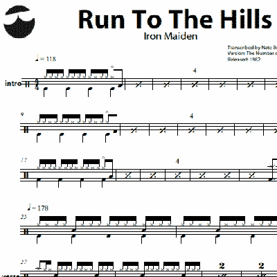 Drum metallica drum tabs : Run To The Hills – Iron Maiden – Drum Sheet Music | OnlineDrummer.com