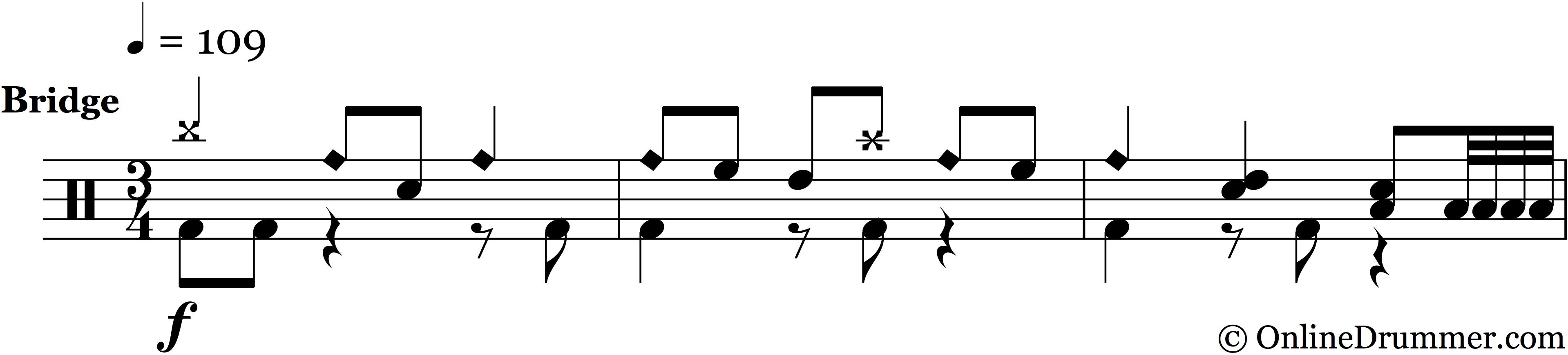 Drum Bridge & Fill From Black Hole Sun by Soundgarden