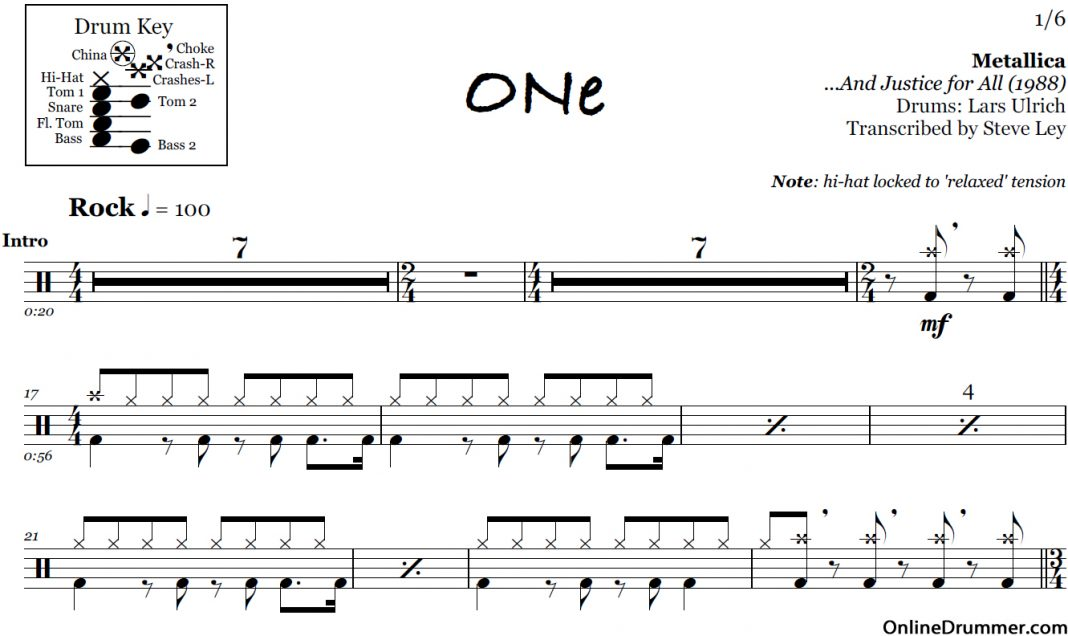 One - Metallica u2013 Drum Sheet Music : OnlineDrummer.com : Page 2