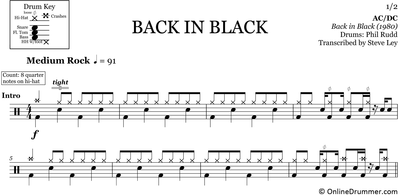 Back in Black - ACDC - Drum Sheet Music