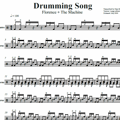 Drum drum chords for songs : Drumming Song – Florence + The Machine – Drum Sheet Music ...