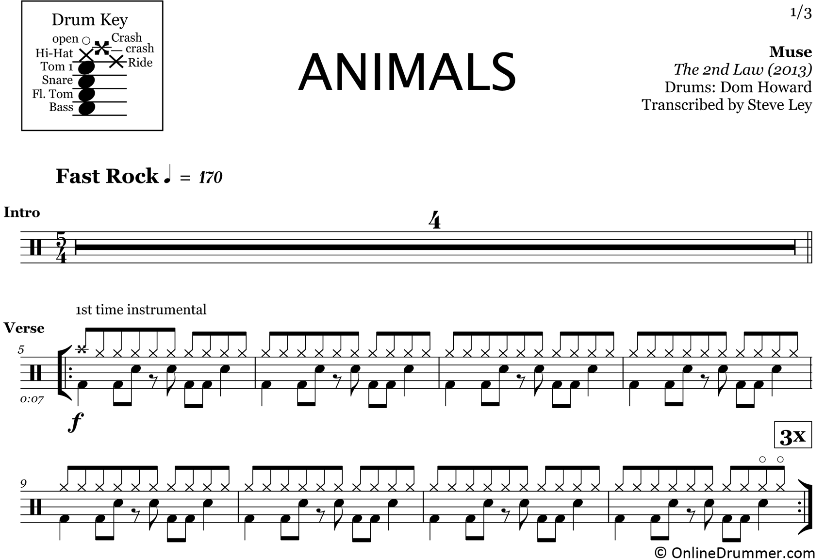 Animals - Muse - Drum Sheet Music