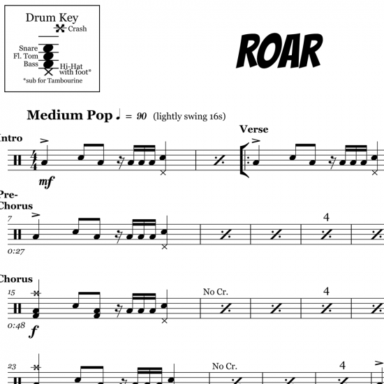 Roar - Katy Perry - Drum Sheet Music