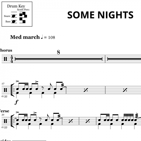 Some Nights - Fun - Drum Sheet Music