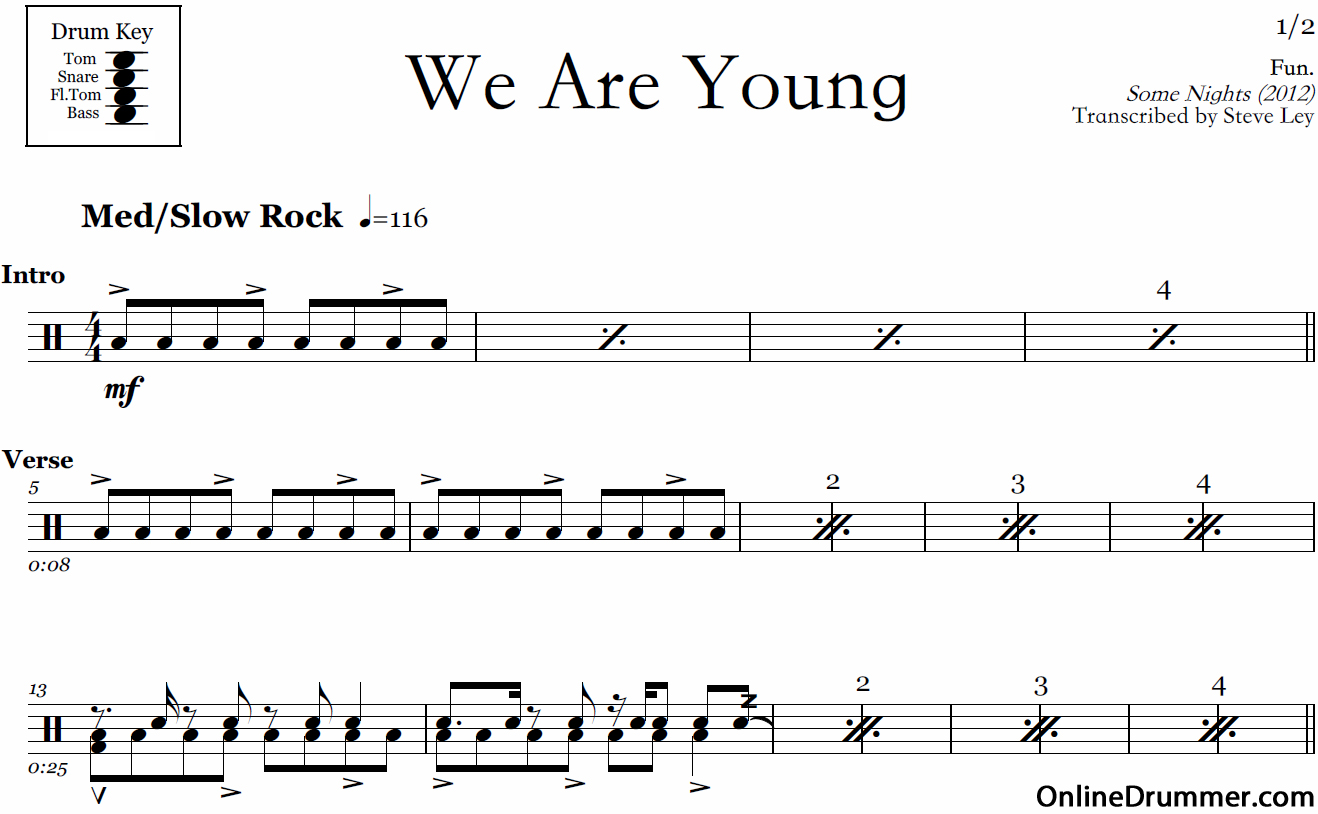 We Are Young – Fun – Drum Sheet Music | OnlineDrummer.com