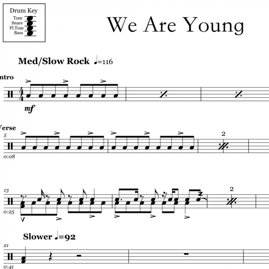 We Are Young - Fun - Drum Sheet Music