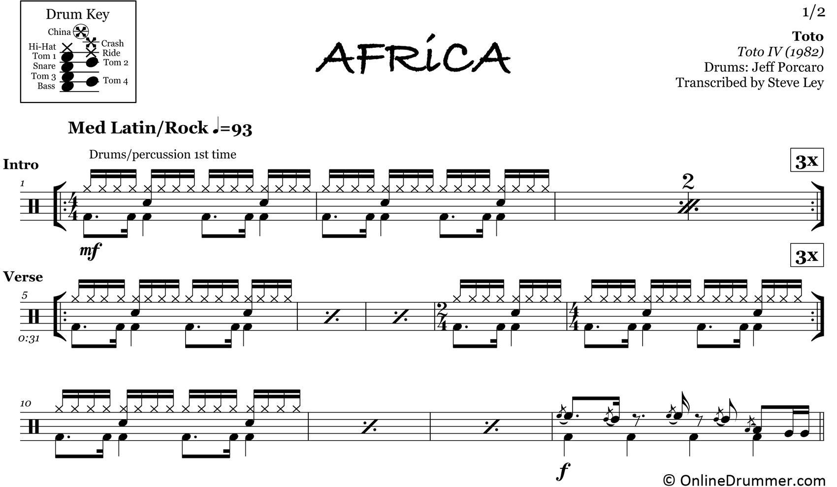 Africa - Toto - Drum Sheet Music