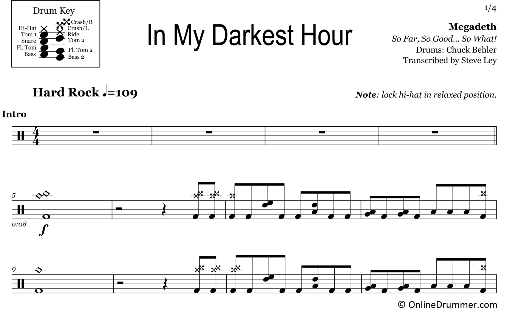 In My Darkest Hour - Megadeth - Drum Sheet Music