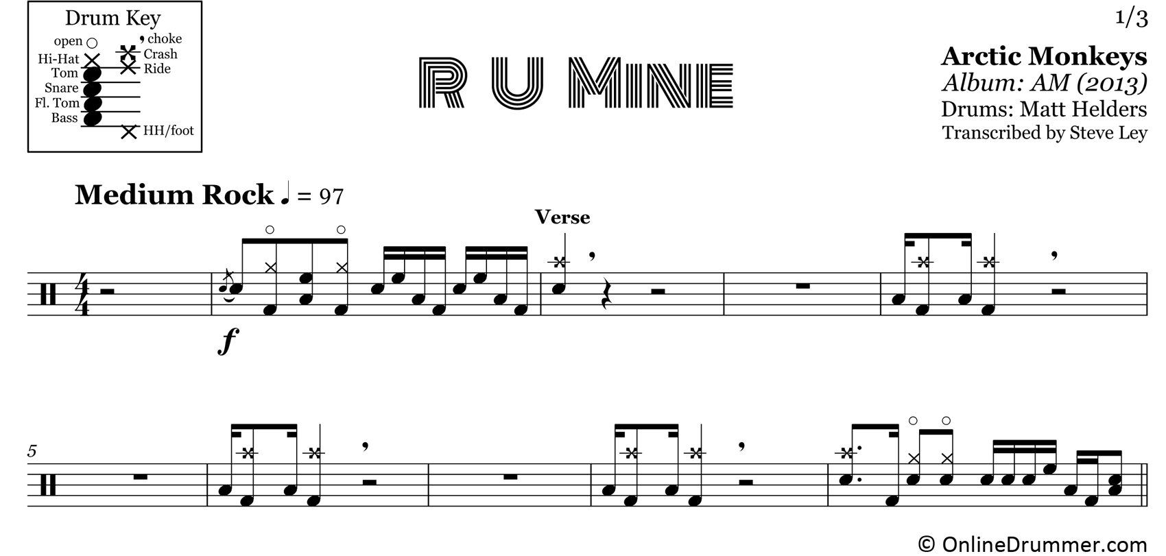 R U Mine - Arctic Monkeys - Drum Sheet Music