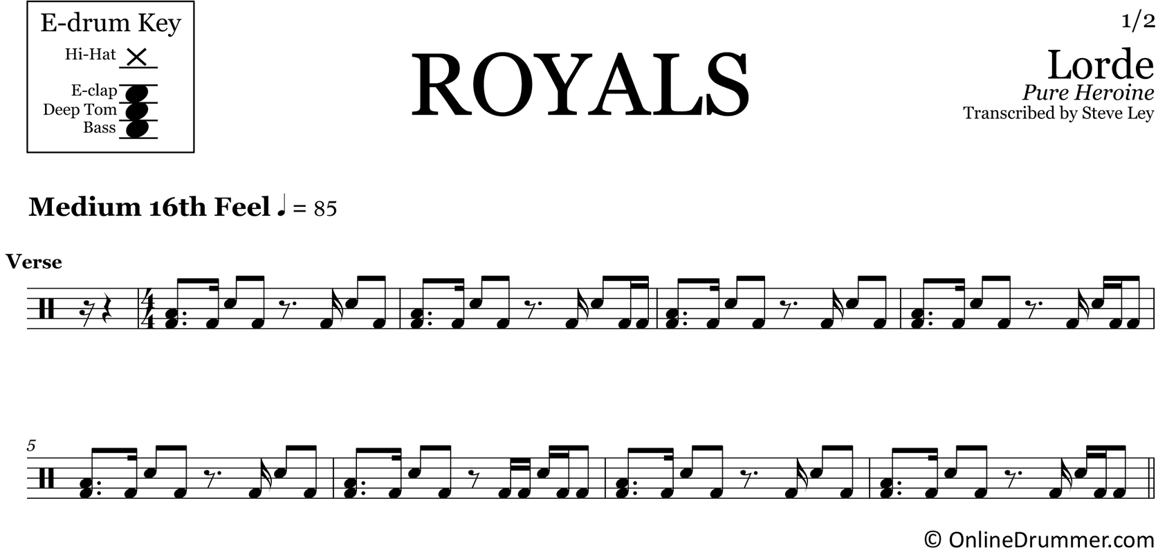 Royals - Lorde - Drum Sheet Music