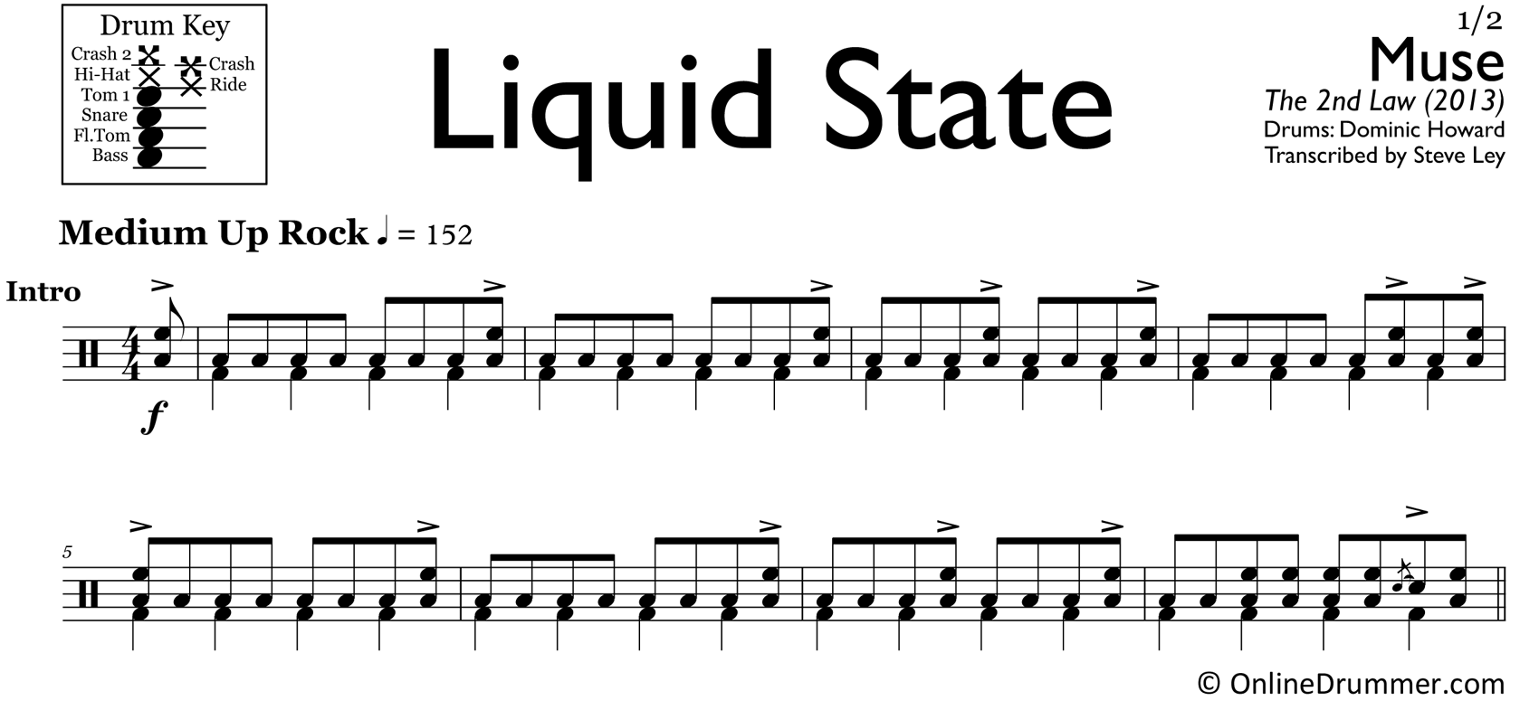 Liquid State - Muse - Drum Sheet Music