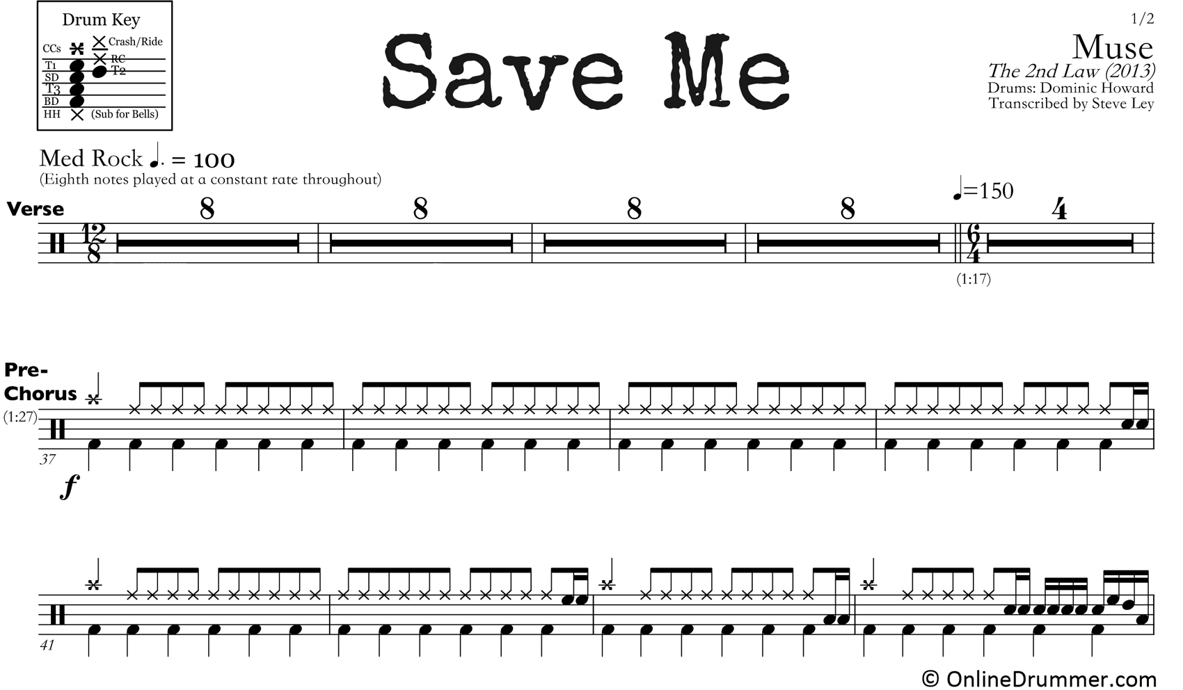 Save Me - Muse - Drum Sheet Music