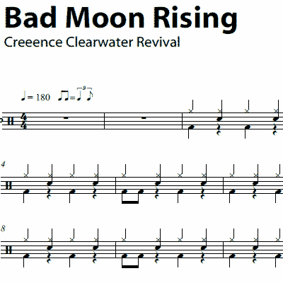 Drum drum chords for songs : Bad Moon Rising – Creedence Clearwater Revival – Drum Sheet Music ...