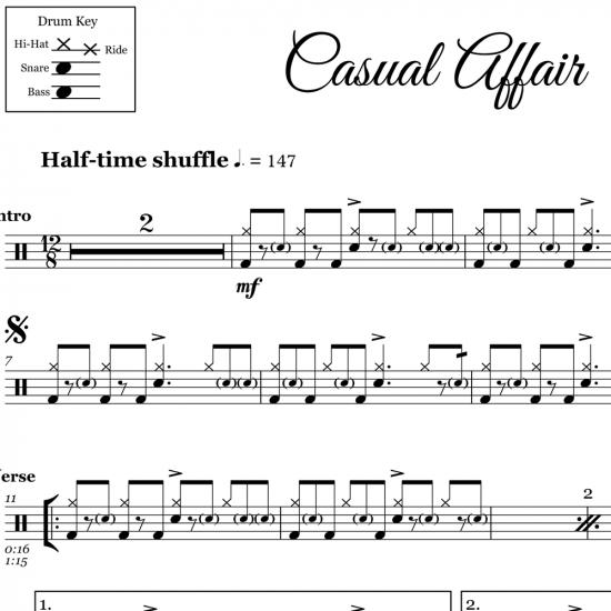 Casual Affair - Panic! At The Disco - Drum Sheet Music