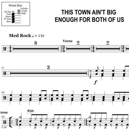 This Town Ain't Big Enough for Both of Us - Sparks - Drum Sheet Music