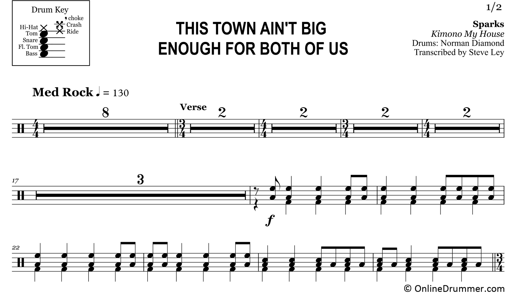 This Town Ain't Big Enough For The Both Of Us - Sparks - Drum Sheet Music