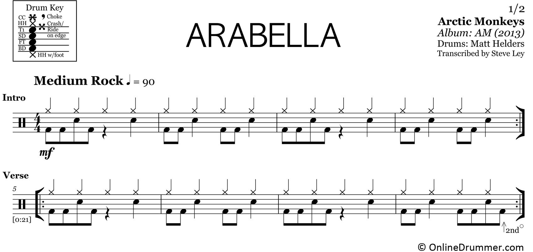 Arabella - Arctic Monkeys - Drum Sheet Music