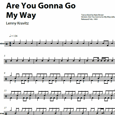 Are You Gonna Go My Way – Lenny Kravitz – Drum Sheet Music ...