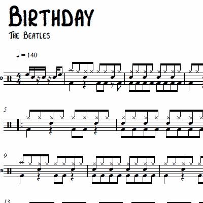 Drum beatles drum tabs : Birthday – The Beatles – Drum Sheet Music | OnlineDrummer.com