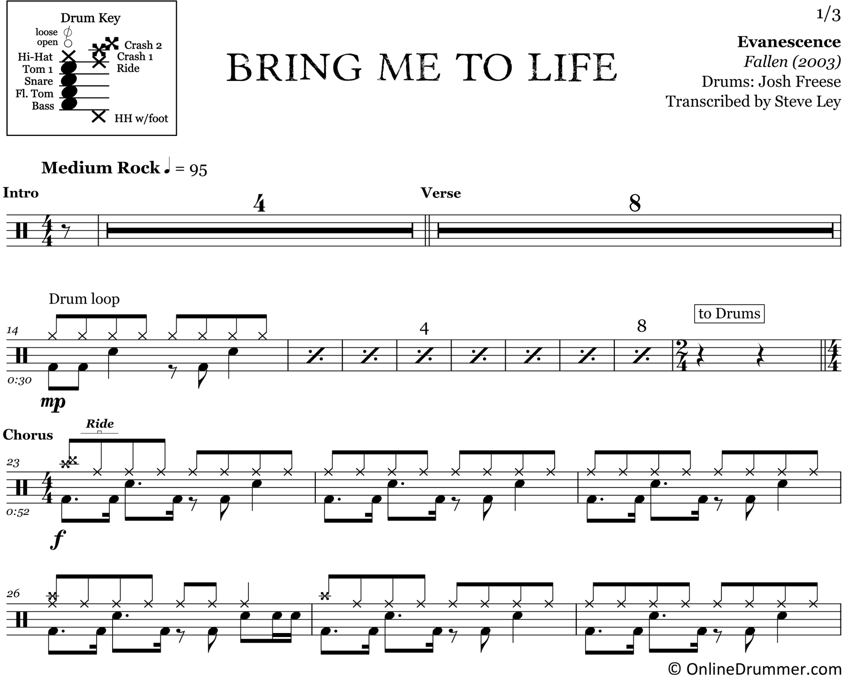 Bring Me To Life - Evanescence - Drum Sheet Music