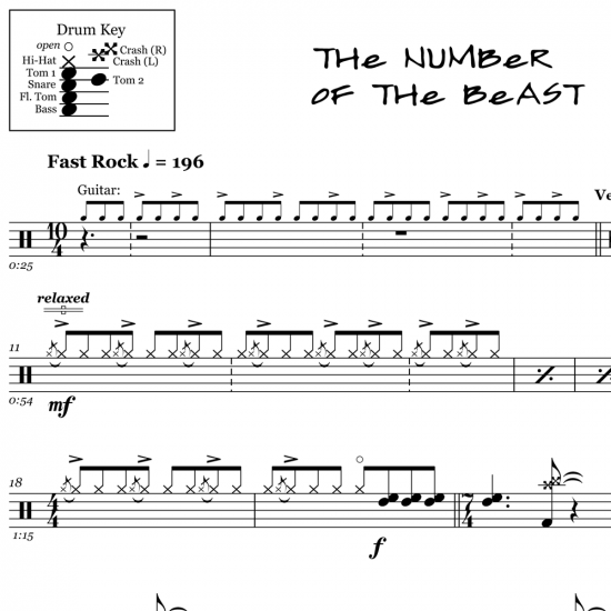 The Number of The Beast - Iron Maiden - Drum Sheet Music