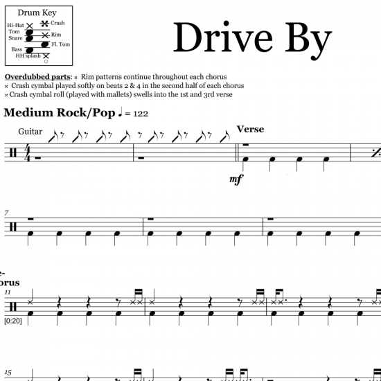 Drive By - Train - Drum Sheet Music