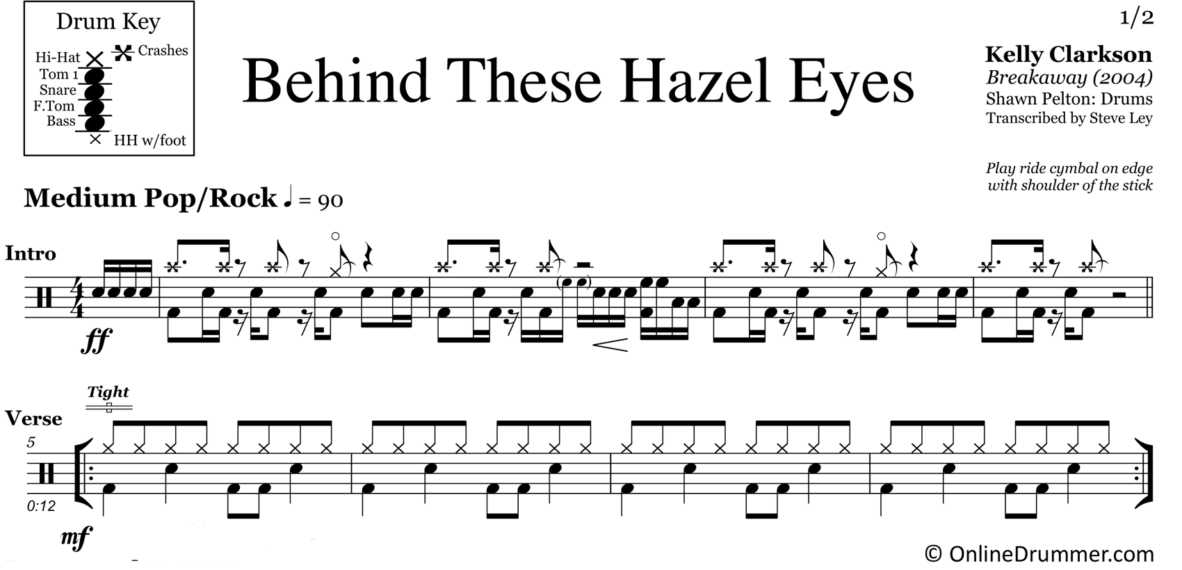 Behind These Hazel Eyes - Kelly Clarkson - Drum Sheet Music