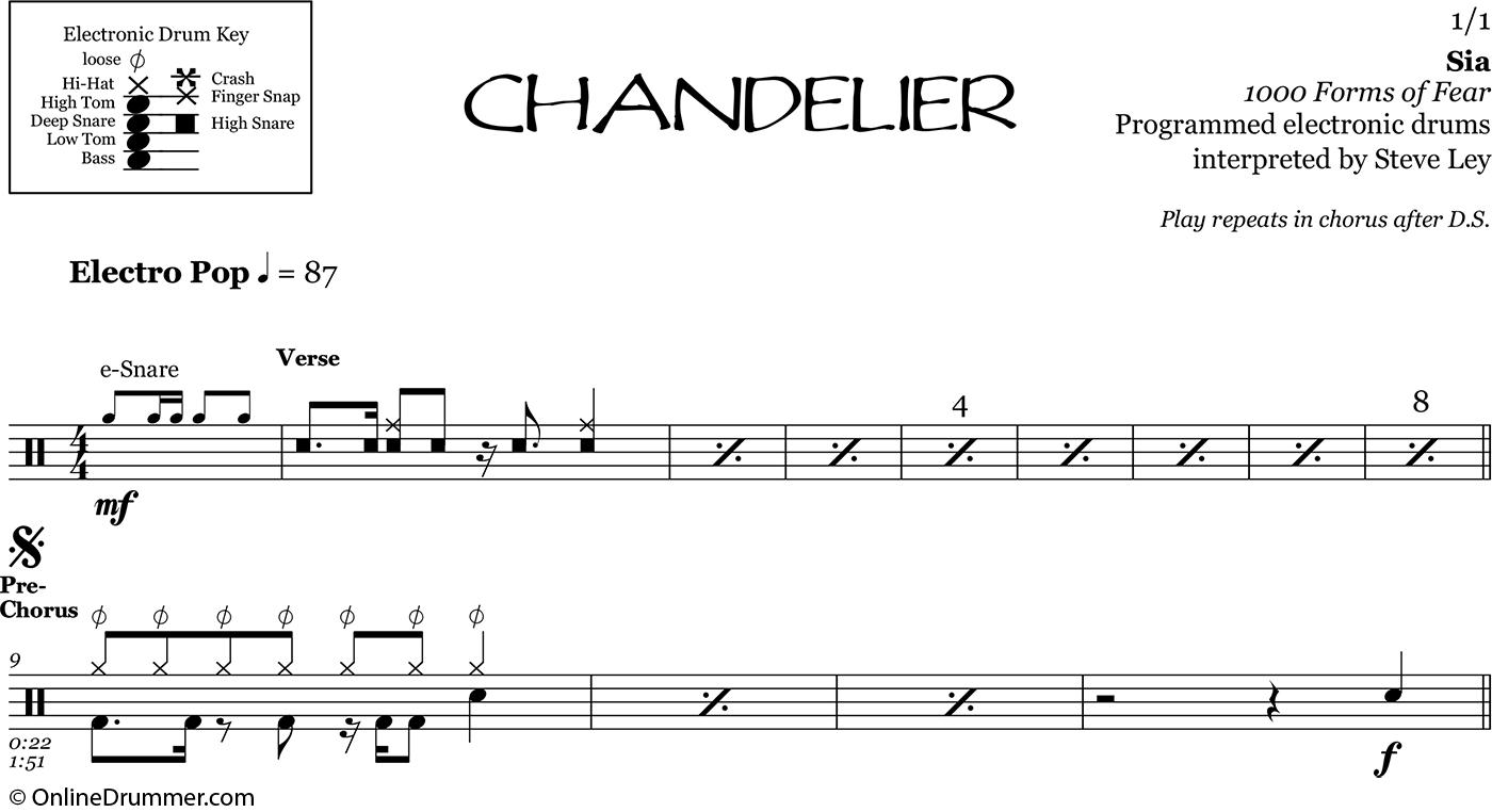 Chandelier sia drum sheet music onlinedrummer sheet music details aloadofball Image collections