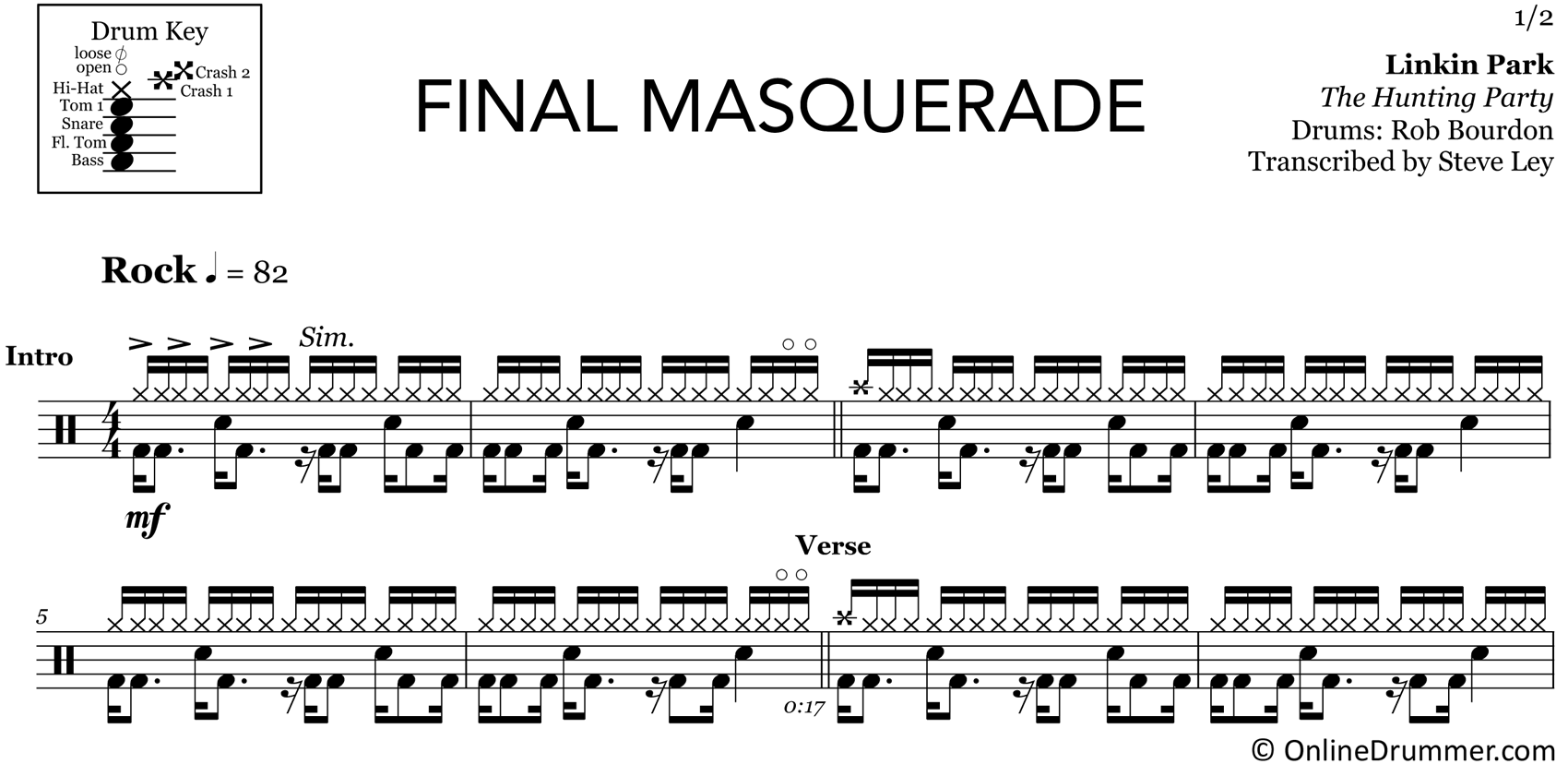 Final Masquerade - Drum Sheet Music