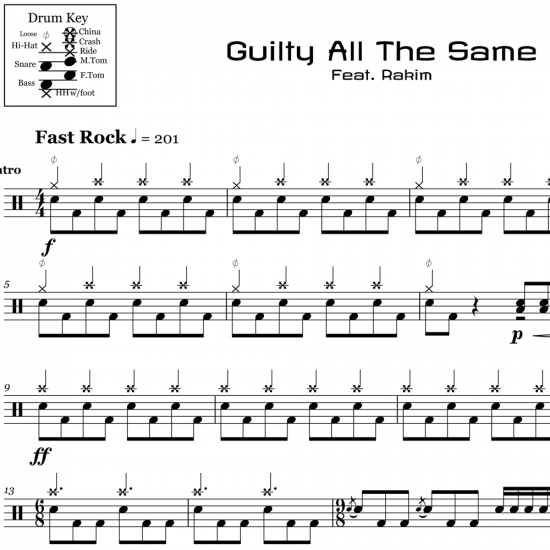 Guilty All The Same - Linkin Park - Drum Sheet Music