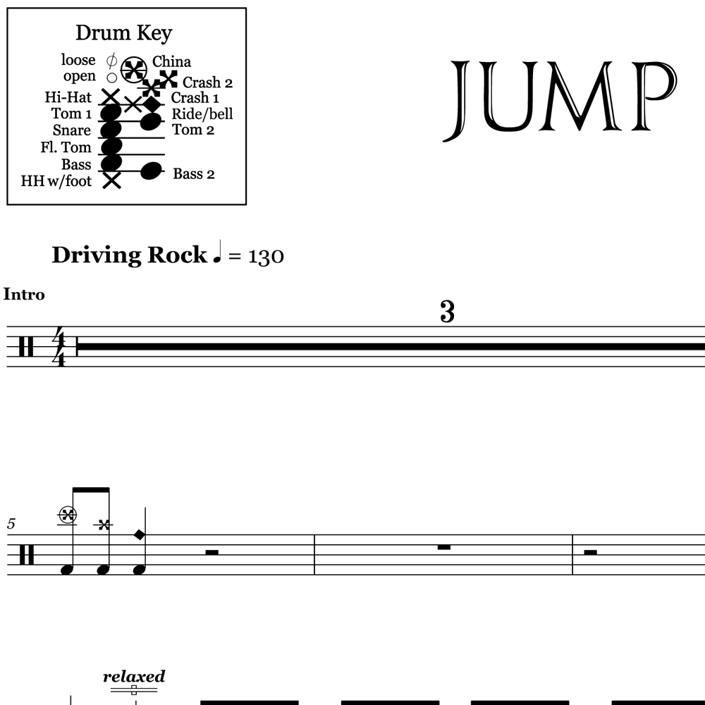 Jump - Van Halen - Drum Sheet Music