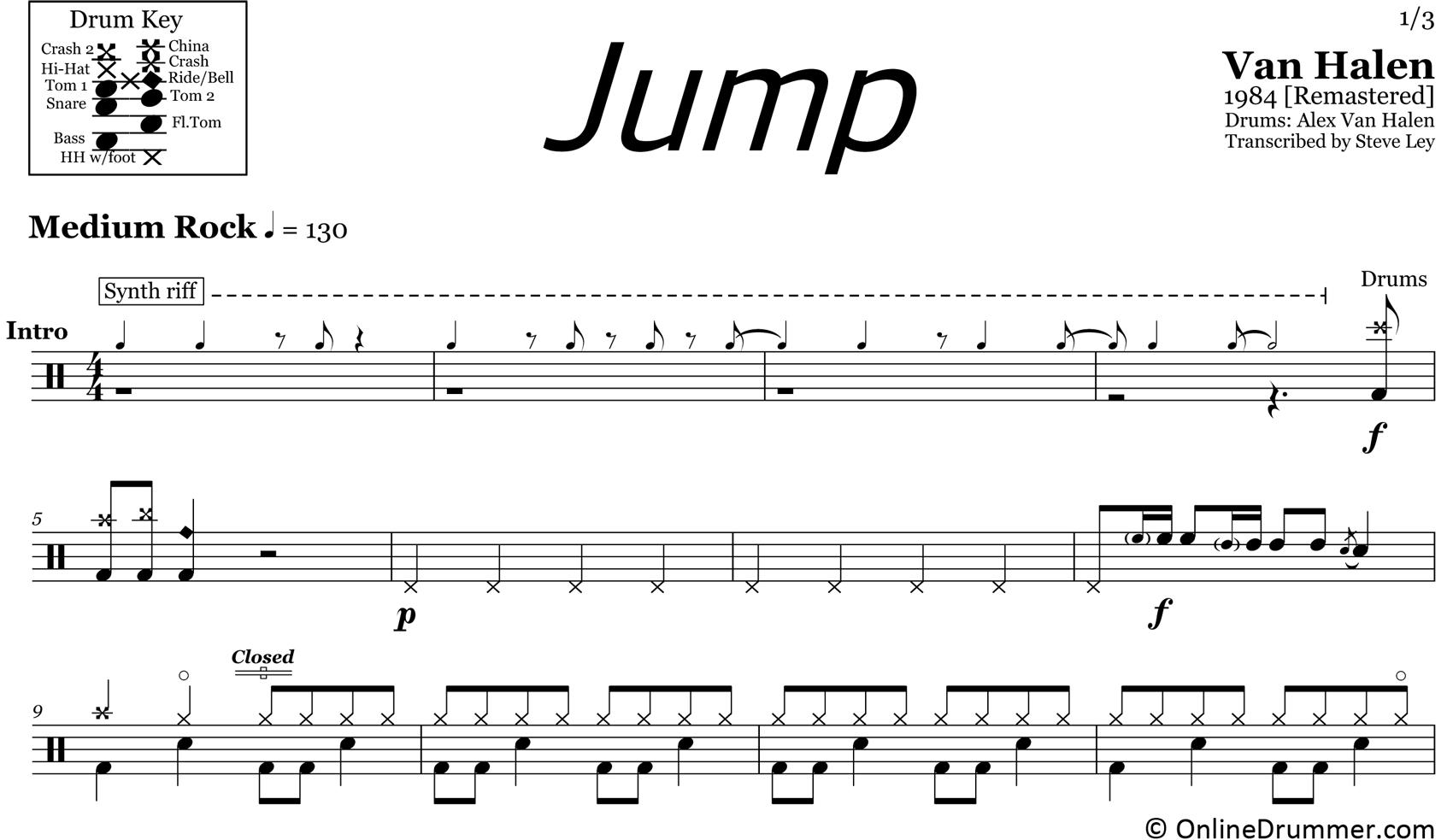 Jump - Van Halen - Drum Sheet Music