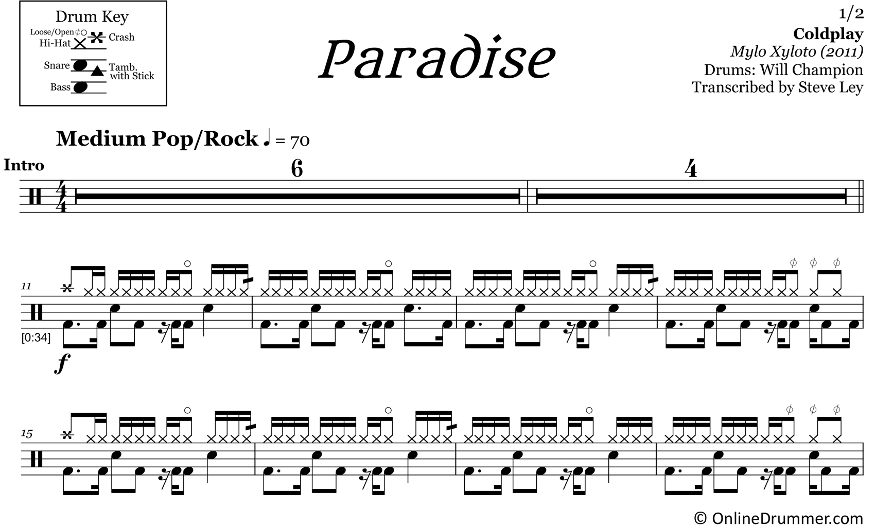 Paradise - Coldplay - Drum Sheet Music