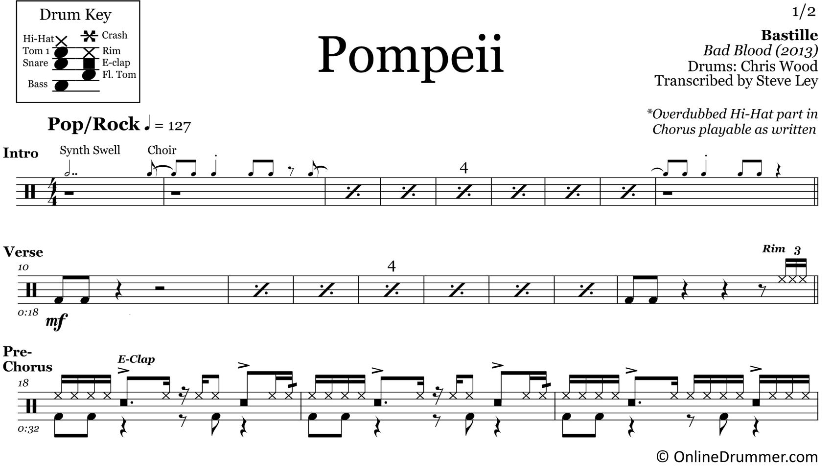 Pompeii - Bastille - Drum Sheet Music