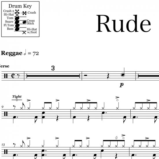 Rude - Magic - Drum Sheet Music
