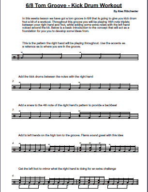 6/8 Tom Groove & Kick Drum Workout - Lesson Sheet