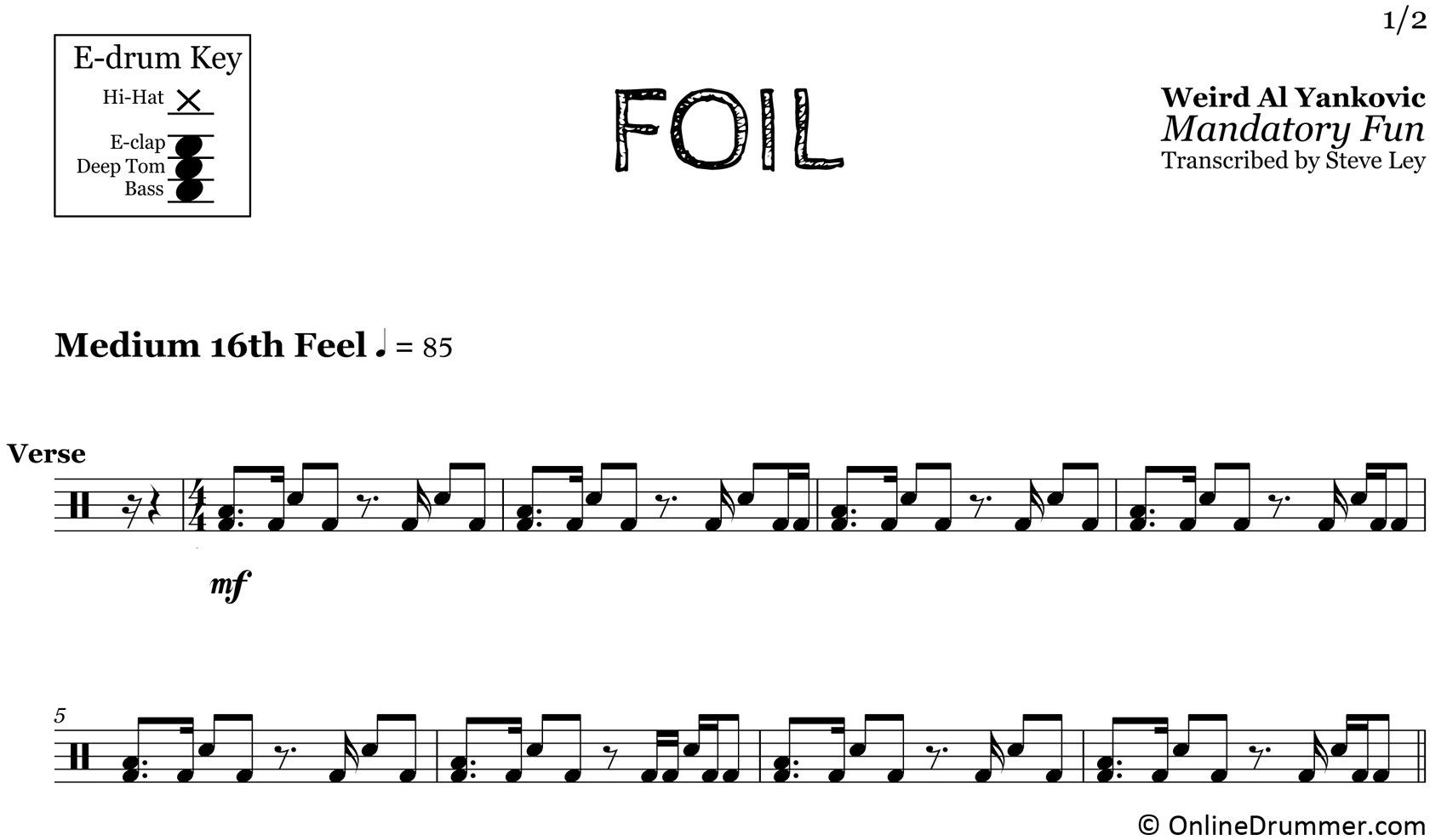 Foil - Weird Al Yankovic - Drum Sheet Music