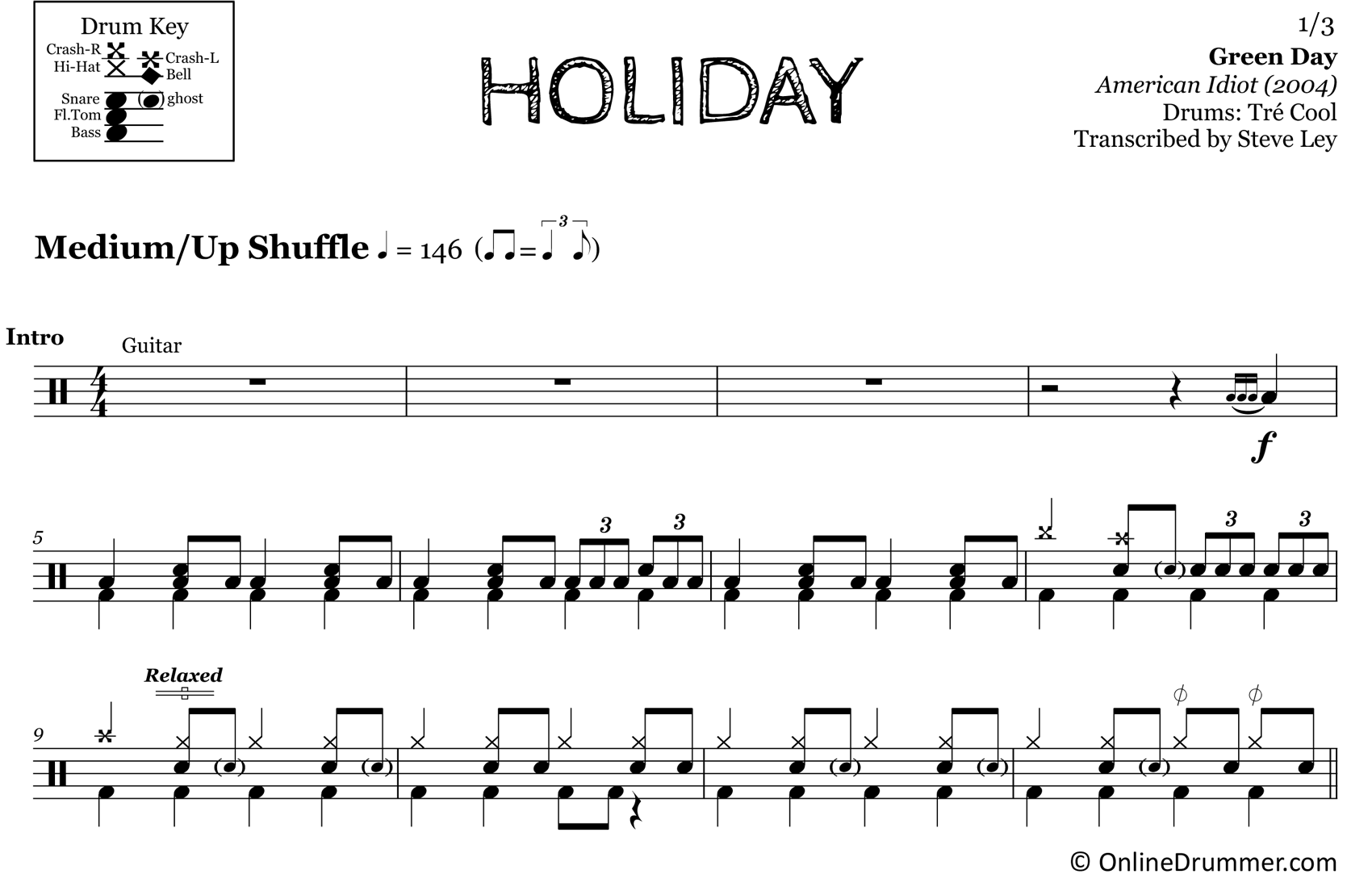 Holiday - Green Day - Drum Sheet Music