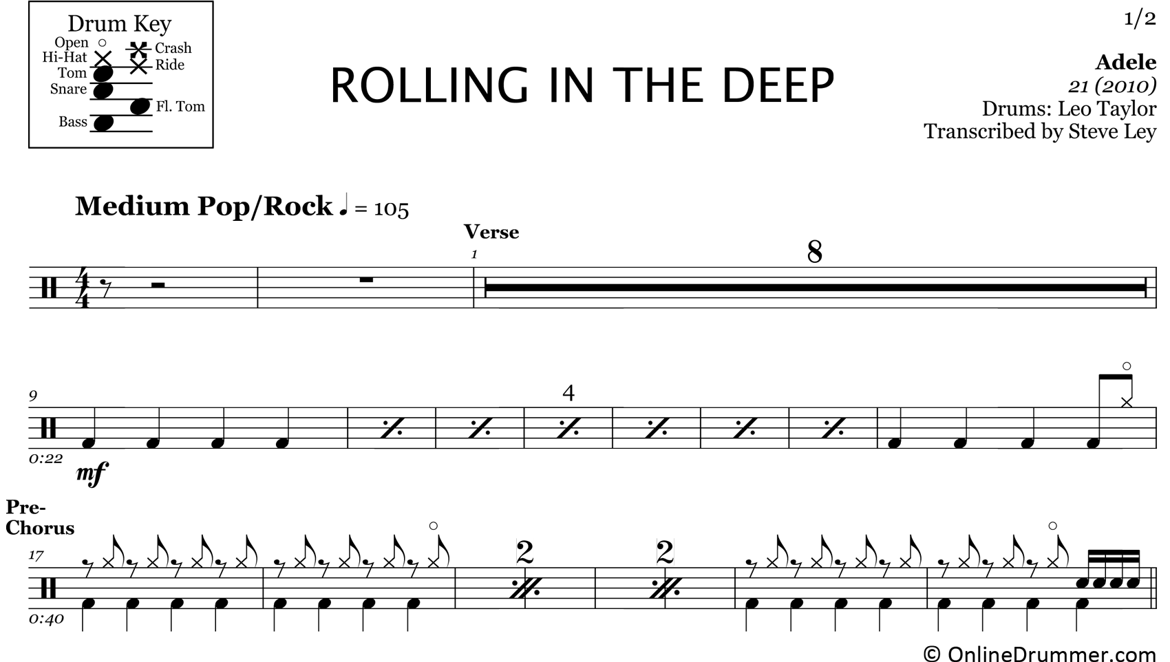 Rolling in the Deep - Adele - Drum Sheet Music