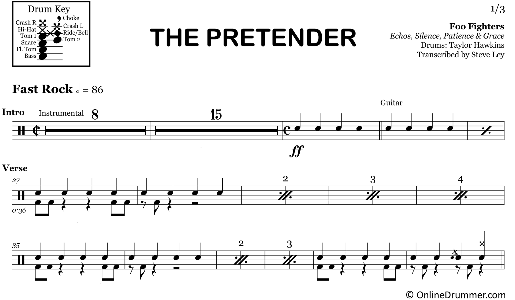 The Pretender - Foo Fighters - Drum Sheet Music