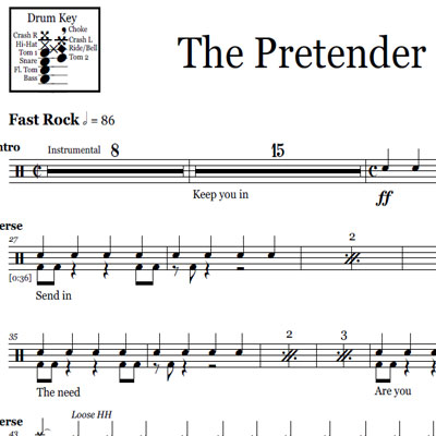 partition batterie foo fighters the pretender