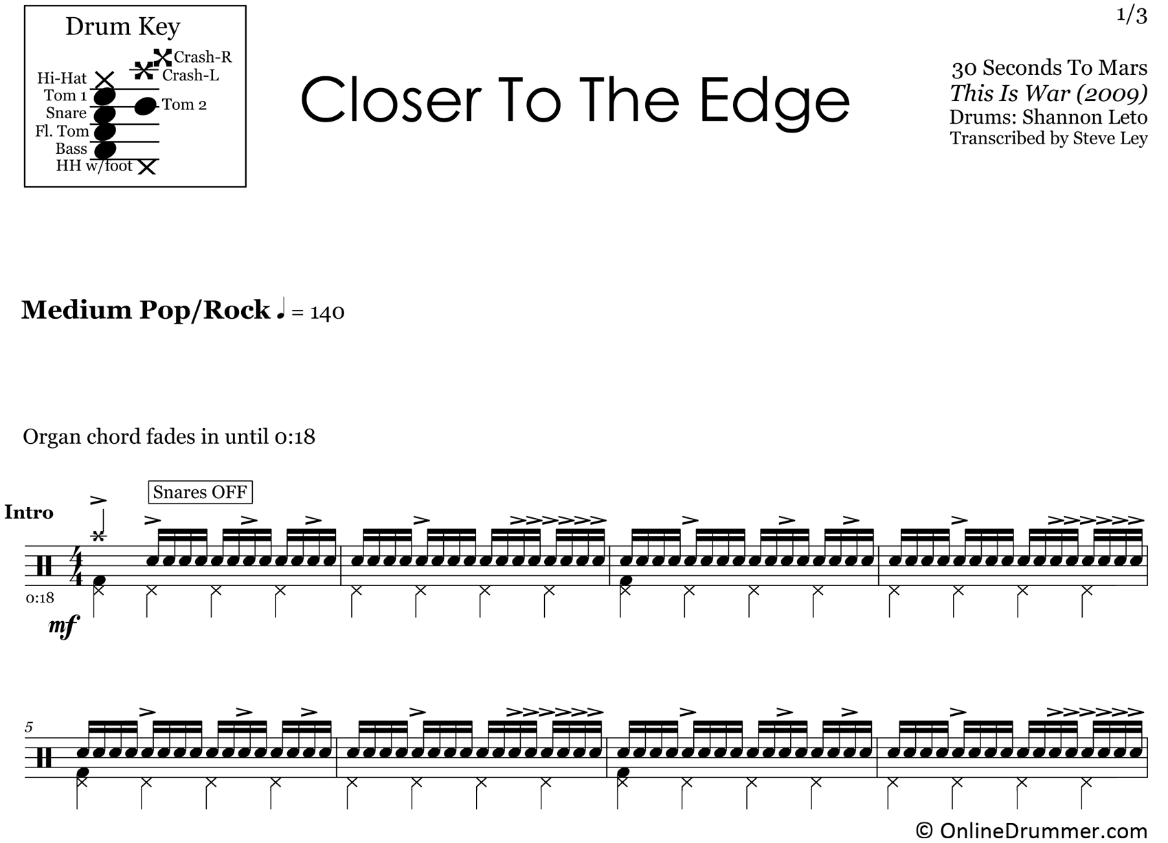 Closer to the Edge - 30 Seconds to Mars - Drum Sheet Music