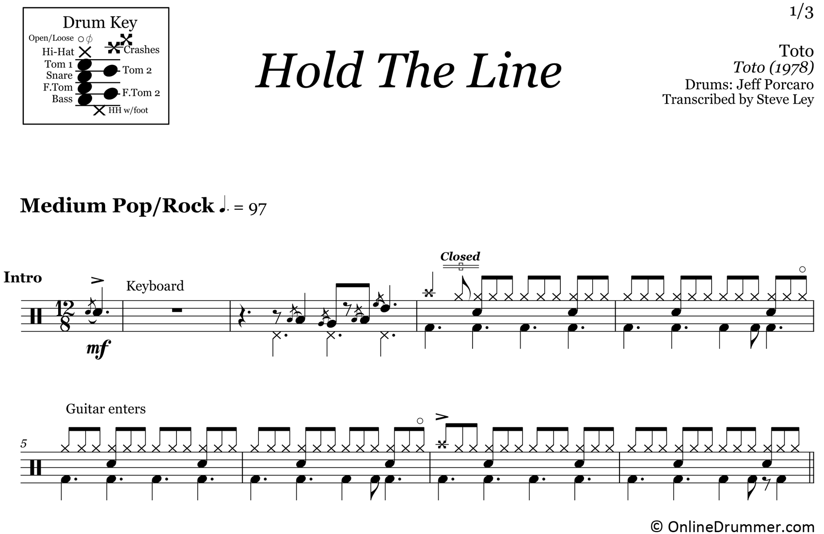 Hold The Line - Toto - Drum Sheet Music