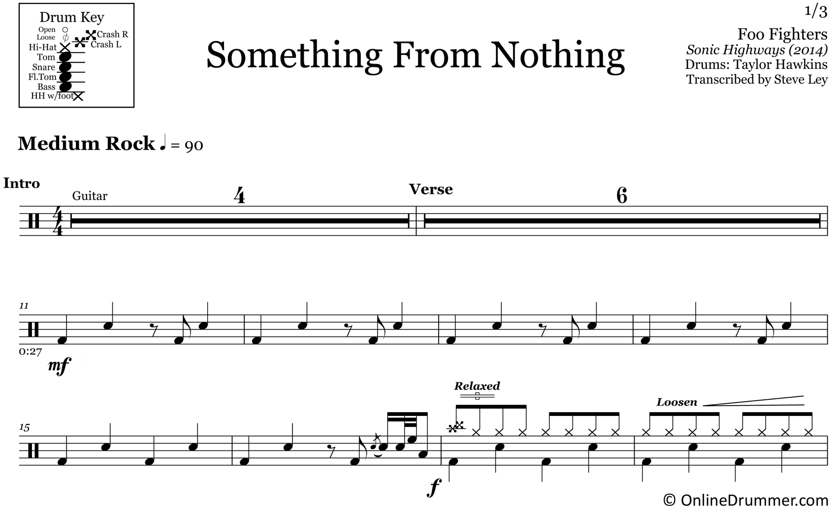 Something From Nothing - Foo Fighters - Drum Sheet Music