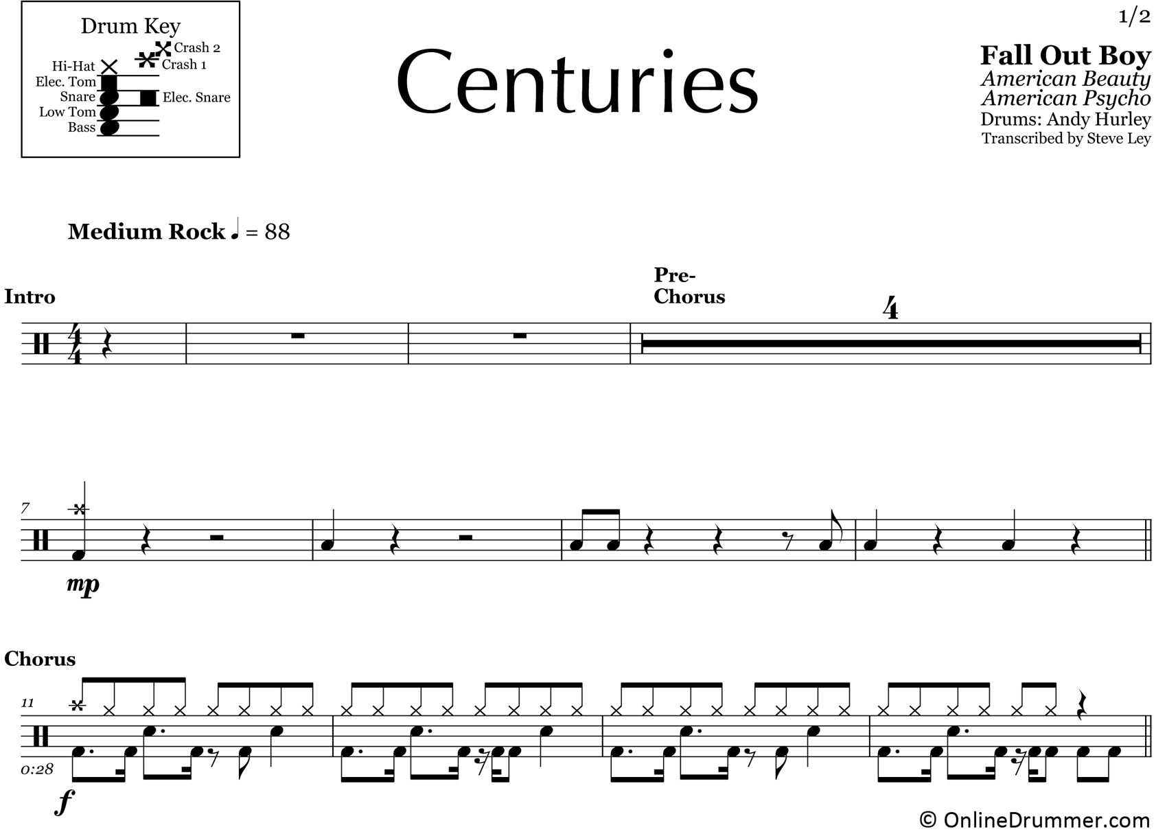 Centuries - Fall Out Boy - Drum Sheet Music