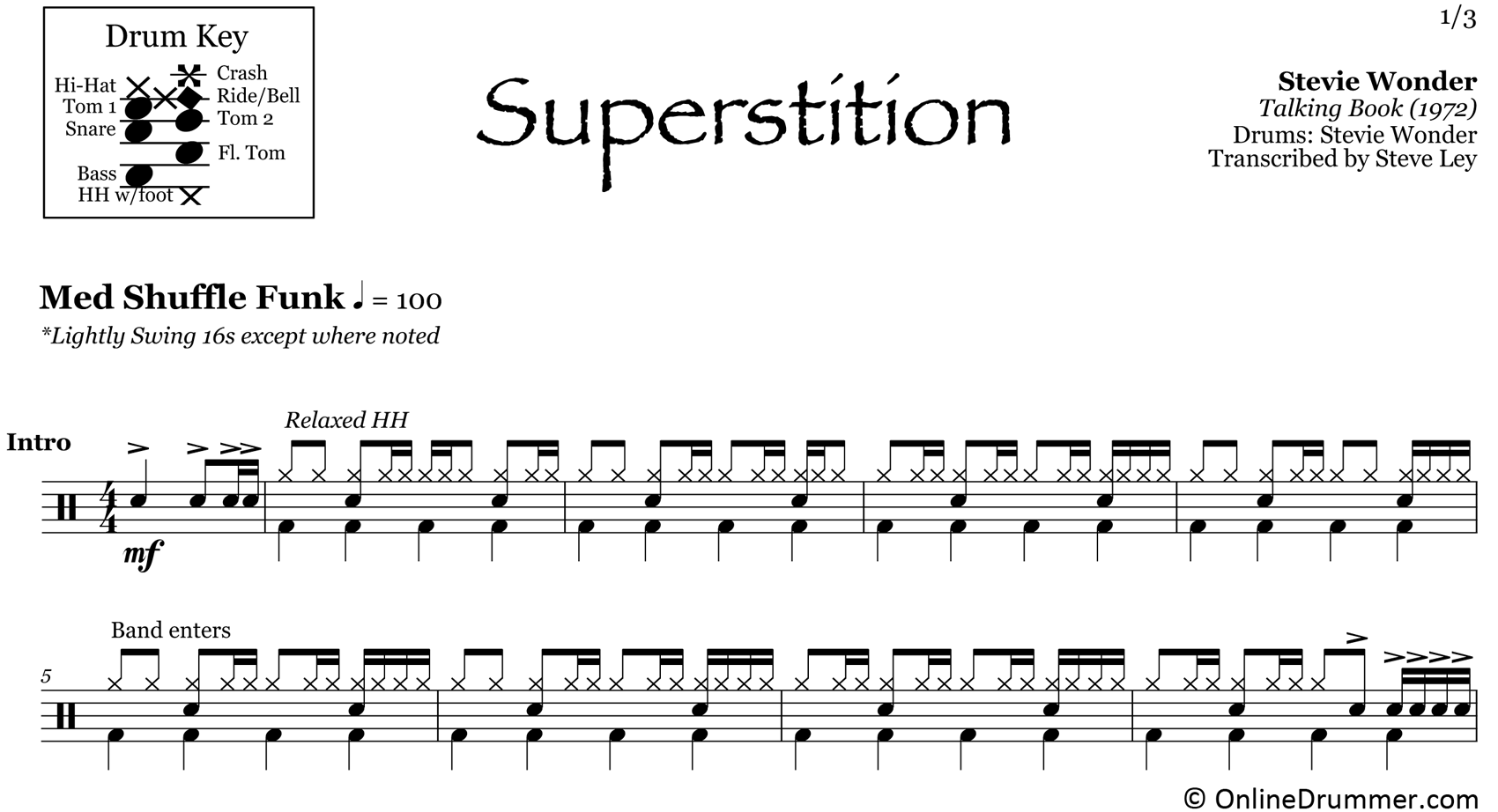 Superstition - Stevie Wonder - Drum Sheet Music